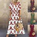 Hot Sale Women's Summer 2021 Bohemian Beach Straight Type Floral V-Neck Cotton Linen Retro Print Popular Big Swing Dress