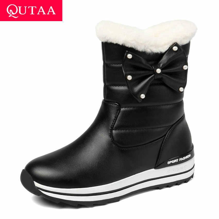 QUTAA 2020 takozlar PU kayma orta buzağı çizmeler kış sıcak kürk kelebek-düğüm kadın ayakkabı platformu yuvarlak ayak kar botları boyutu 34-43