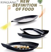 Круглая тарелка в форме листа для суши естественное блюдо рандомная