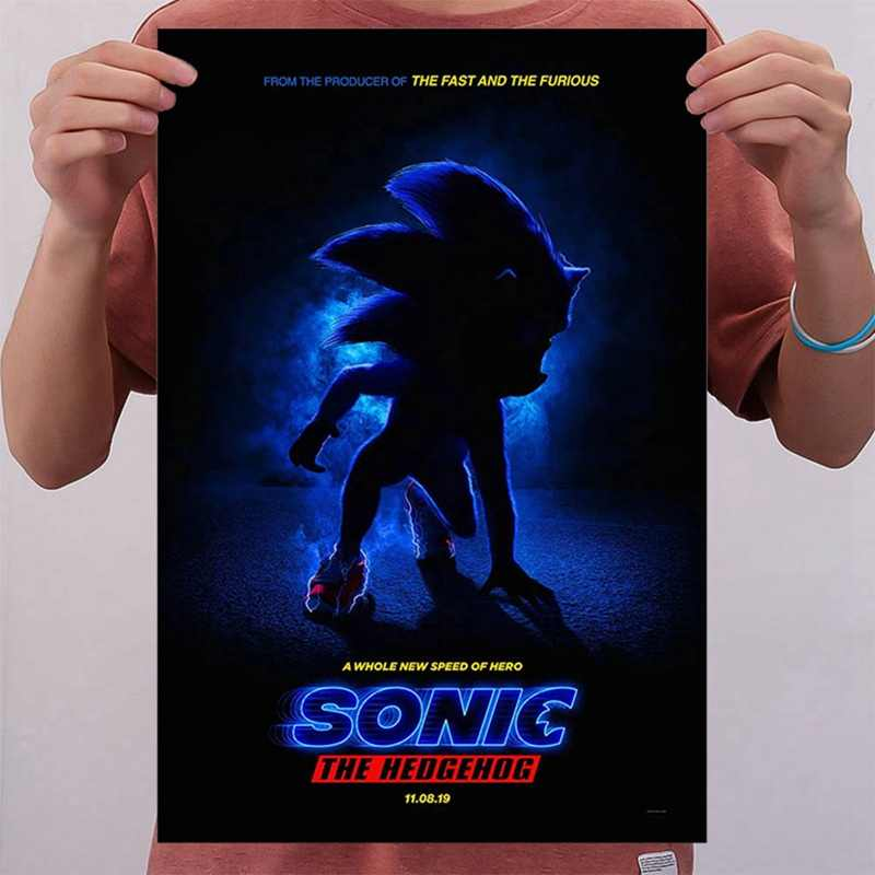 Wall Art Pictures Frame 1 Piece Sonic The Hedgehog Cartoon Movie