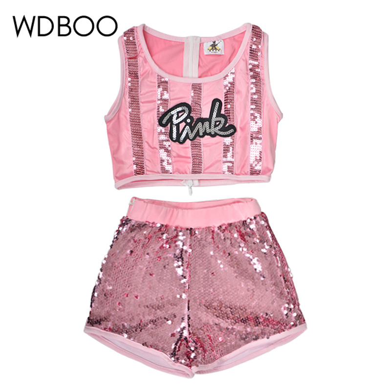 WDBOO Girls Hip-hop Jazz Dancewear Sequin Glitter Crop Top Shorts 2 Pieces Set Kid Top & Bottoms Dance Costume Pink Sparkly Sets