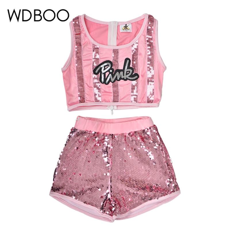 WDBOO Girls Hip-hop Jazz Dancewear Sequin Glitter Crop Top Shorts 2 Pieces Set Kid Top & Bottoms Dance Costume Pink Sparkly Sets