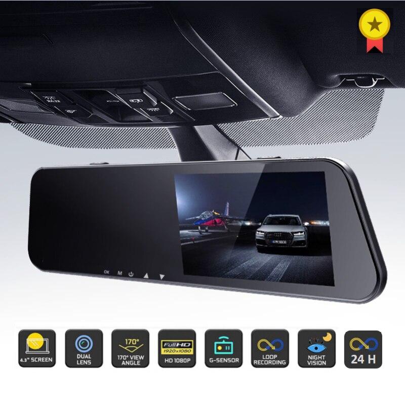 24 часа в сутки Видеорегистраторы для автомобилей тире Камера заднего вида Двойной объектив 1080P 4.3in Full HD цикла Запись Dash Cam Видео Регистраторы...