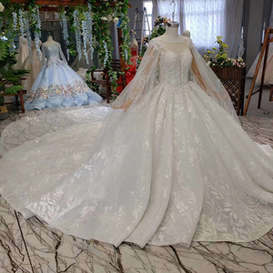 Image 4 - BGW HT4237 Ball Gown Wedding Dresses With Cape O Neck Zipper Back Applique Long Sleeves Lace Wedding Gowns 2020 Vestido De Noiva