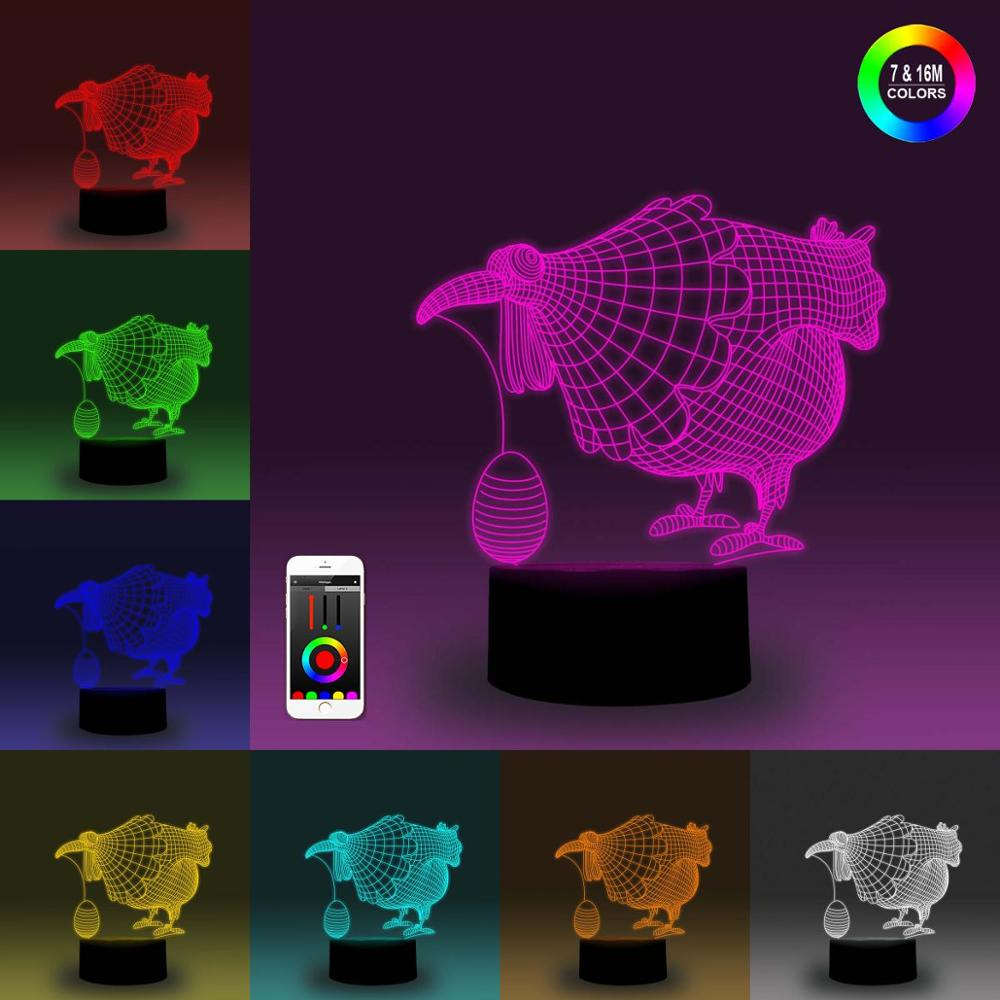 NiteApps 3D Hen Laid An Egg Night Light Desk Table Illusion Decoration Lamp Holiday Birthday Gift APP/Touch Control