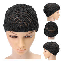 Stretchable Cornrow Braided Wig Cap For Crochet With Elastic Band And Combs Hair Net Black lueless Wig Caps Good Quality
