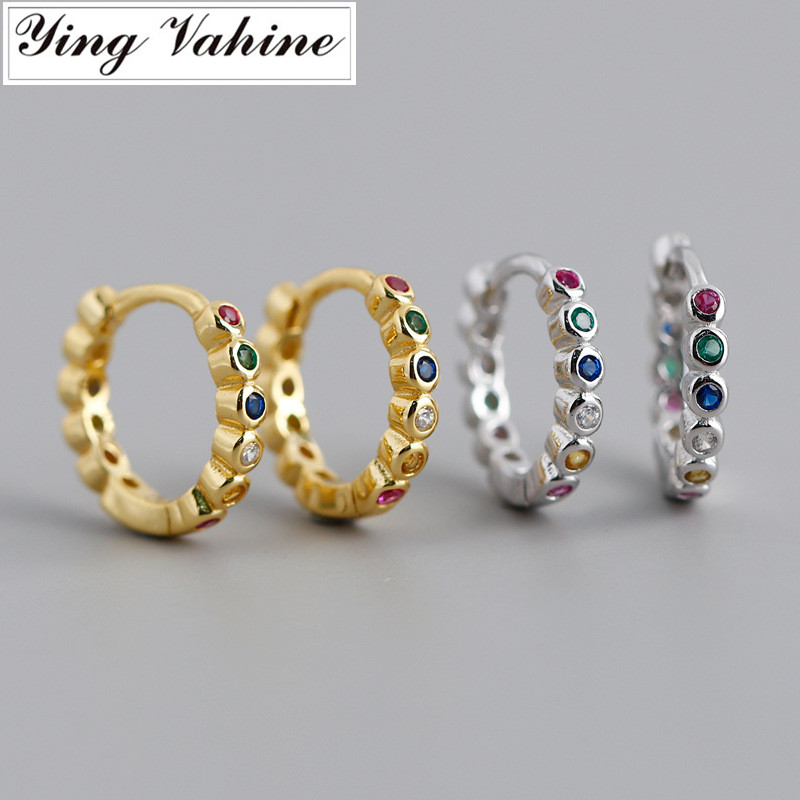 Ying Vahine 100% 925 Sterling Silver Multicolor Zircons Round Small Stud Earrings For Women