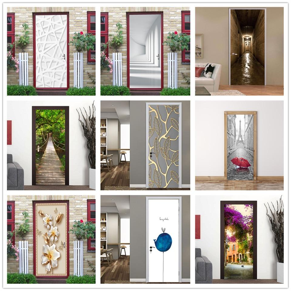 95x215cm White Lines Door Sticker DIY Peel And Stick Wallpaper Vinyl Waterproof Wall Decal Home Design Stickers Porte Deurposter