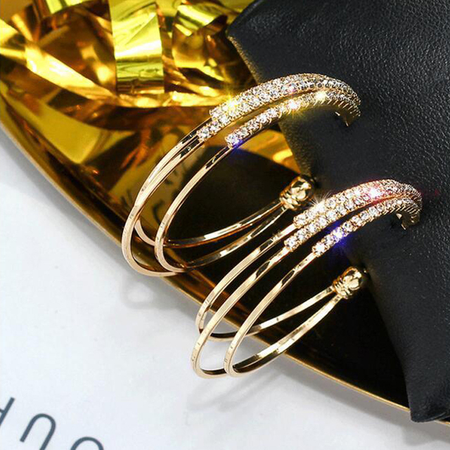 LATS Exaggerated Rhinestone Shiny Circle Hoop Earrings Large Round Earrings for Women 2020 Brincos Fashion Jewelry Accessories 6