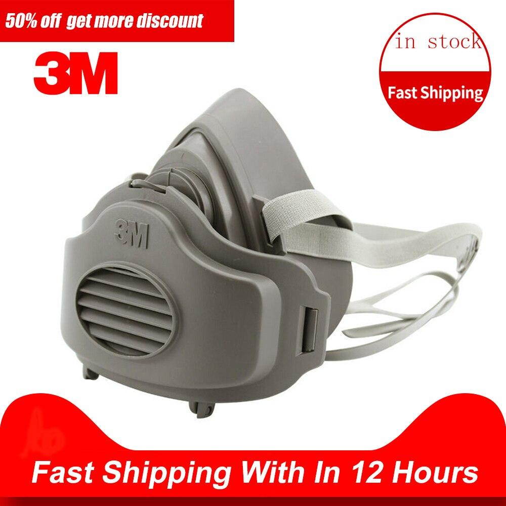 Máscara respiratoria antipolvo 3M 3200, media cara, antipolvo para construcción Industrial, antiniebla, filtro de Gas de seguridad, cubierta de algodón