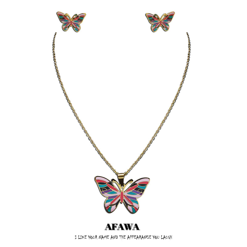 2021 Fashion Enamel Stainless Steel Butterfly Necklace and Earings Sets for Women Gold Color Jewelry pendientes mujer S9516S01