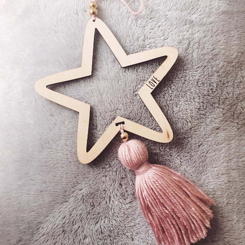 INS Star Wood Beads Nordic Style Wood Crafts Tassel Wall Hanging Ornaments Kid Bedroom Home Nursery Decor Baby Shower Decoration