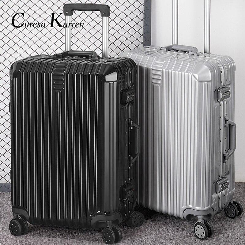 סופר אופנה חדשה תיק מטען נסיעות מזוודה עסקי מטען עגלת מקרה על גלגל אלומיניום מסגרת hardside שקט מזוודה