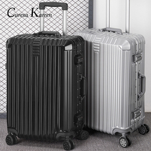 Super fashion NEW luggage bag travel suitcase business luggage trolley case on wheel aluminum frame hardside Silent suitcase