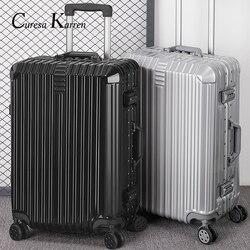 Super mode NEUE gepäck tasche reise koffer business gepäck trolley fall auf rad aluminium rahmen hardside Stille koffer