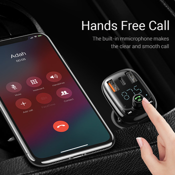 Baseus Quick Charge 4.0 Car Charger with FM Transmitter Bluetooth Handsfree FM Modulator PD 3.0 Fast USB Car Charger For iPhone 1