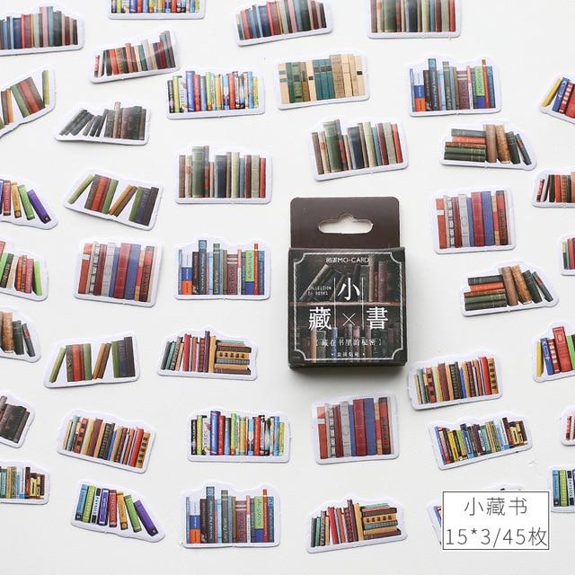 Retro Library Series Kawaii Diary Handmade Adhesive Paper Flake Japan Flower Book Sticker Scrapbooking Bullet Journal Stationery