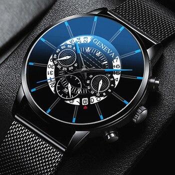 2020 الجوف ساعة رجالي موضة ساعات رقيقة جدا تاريخ رجال الأعمال شبكة من الاستانلس استيل حزام ساعة كوارتز Relogio Masculino 1