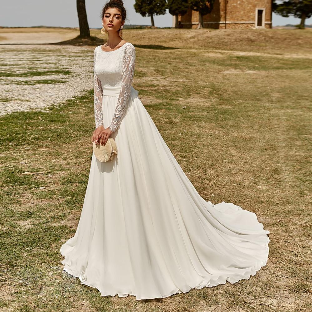 Charming Long Sleeve Wedding Dress Backless Lace Robe De Mariee Custom Made Scoop Chiffon Beach Wedding Gown For Bride