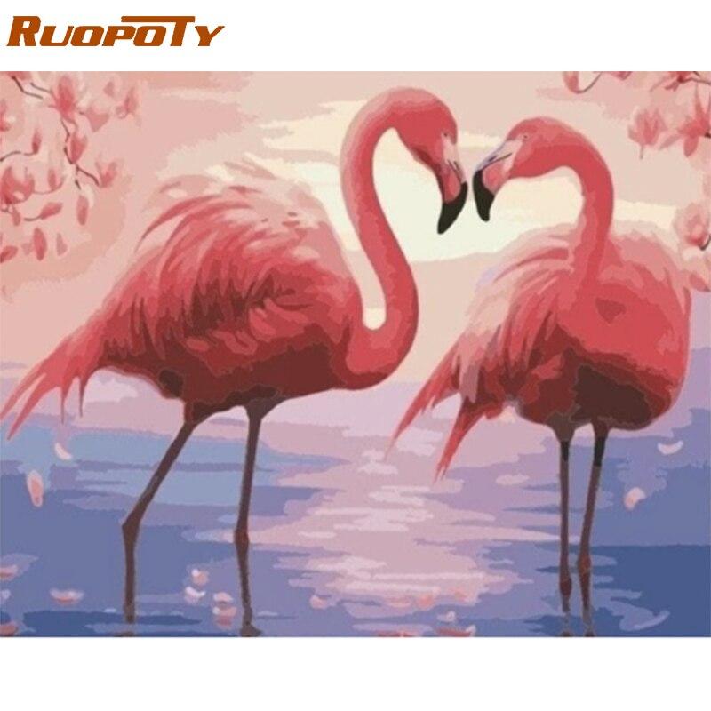 RUOPOTY рамка Diy картина по номерам Фламинго животные Набор Холст Картина по номерам ручная роспись для украшения дома подарок искусство|Картина по номерам|   | АлиЭкспресс