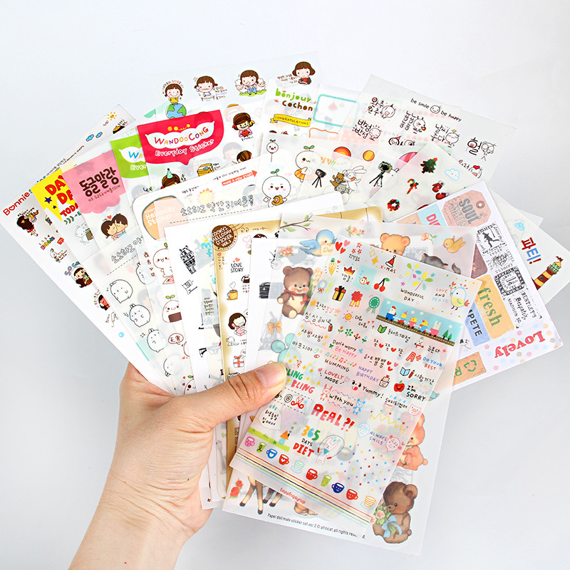 6sheets/bag Cute Stickers Bullet Journal Kawaii Scrapbooking Planner Diary  Sticker Set Retro Stationery