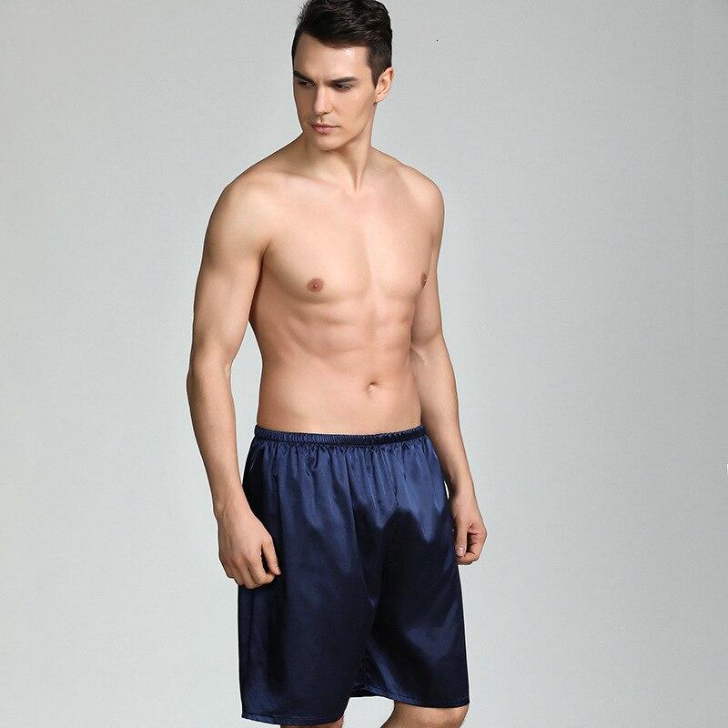 Mens Silk Satin Pajamas Pyjamas Lounge Pants Sleep Bottoms Male Sleepwear Home Wear Pijama Shorts Panties Plus Size 4XL 5XL