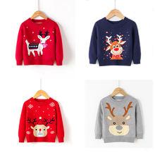 Рождественский детский свитер вязаный пуловер с оленем для маленьких