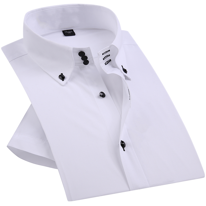 Casual Summer Diamond Buttons Mens Dress Shirt White Short Sleeve Luxury High Collar Slim Fit Stylish Business Shirts