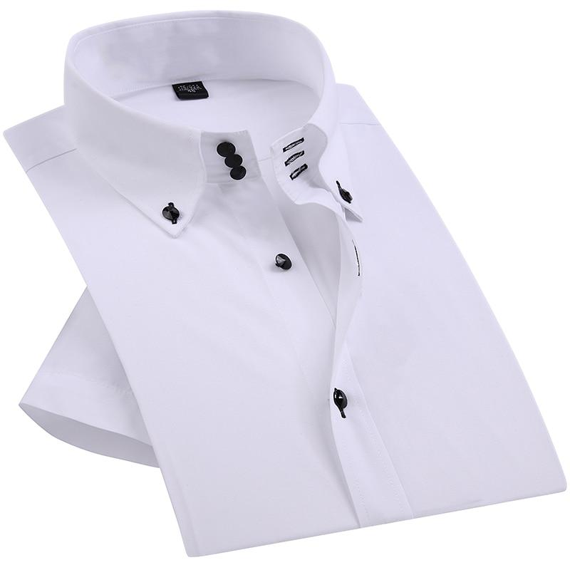 Casual Summer Diamond Buttons Mens Dress Shirt White Short Sleeve Luxury High Collar Slim Fit Stylish Business Shirts