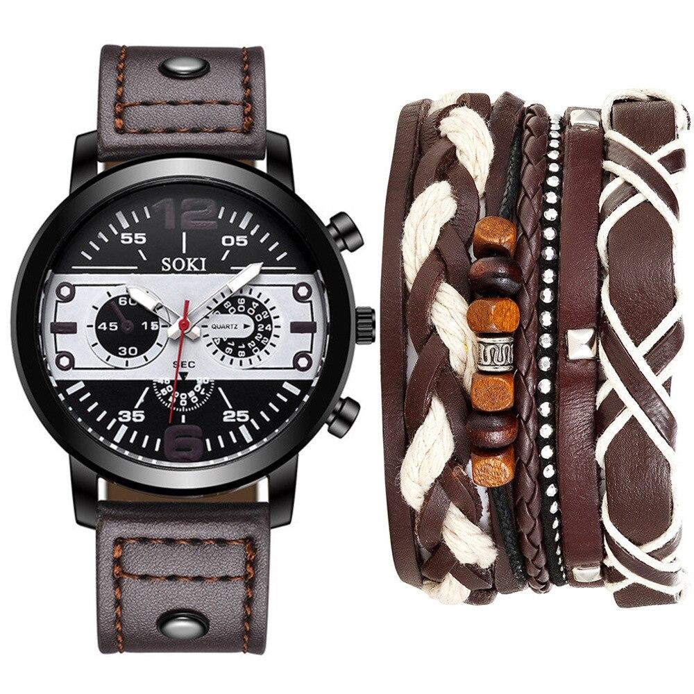 Original Quartz Watches Men Fashions Bracelet Suit 5pcs 2019 Mans Watch Hot Sale Clock Mechanism Men Sports Watches Wristwatch