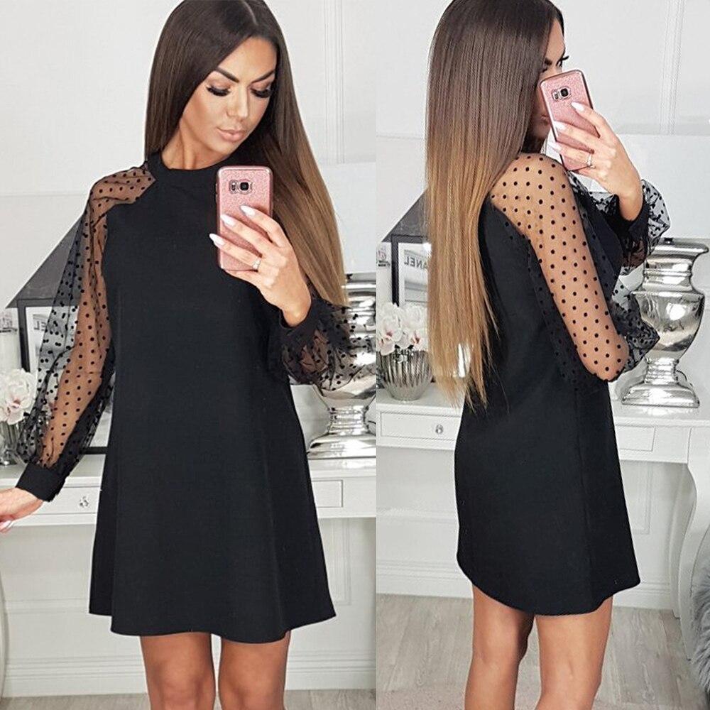 elegant Women Dress Black Round Neck Mesh sleeve polka dot Patchwork black summer party Dress