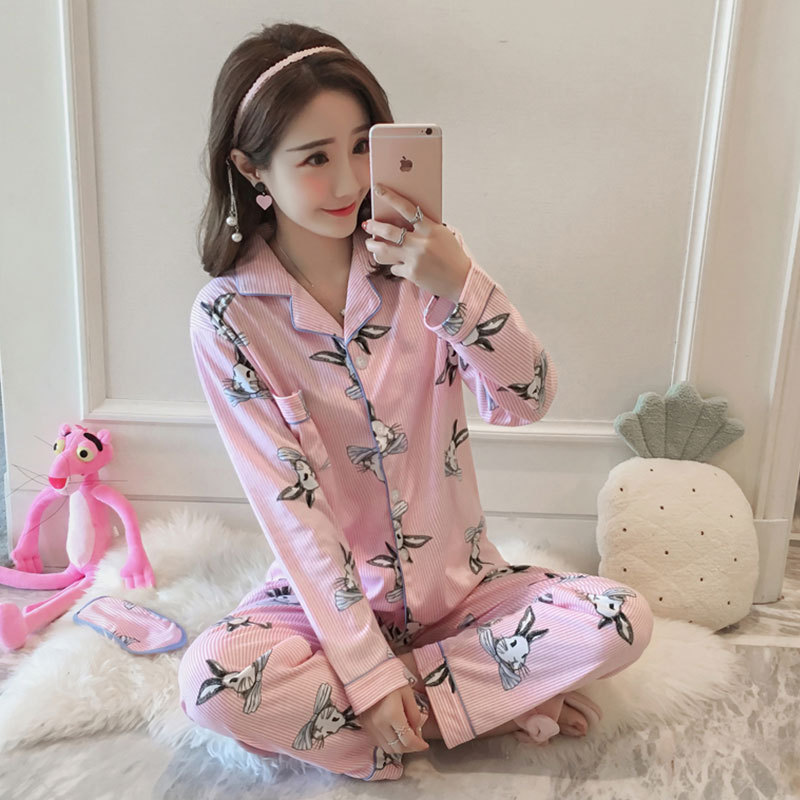 Bowtie Rabbit Cardigan Pajamas Women Long Sleeve Trousers Double-Sided Qmilch Women's Home Wear Bow Sweet Set