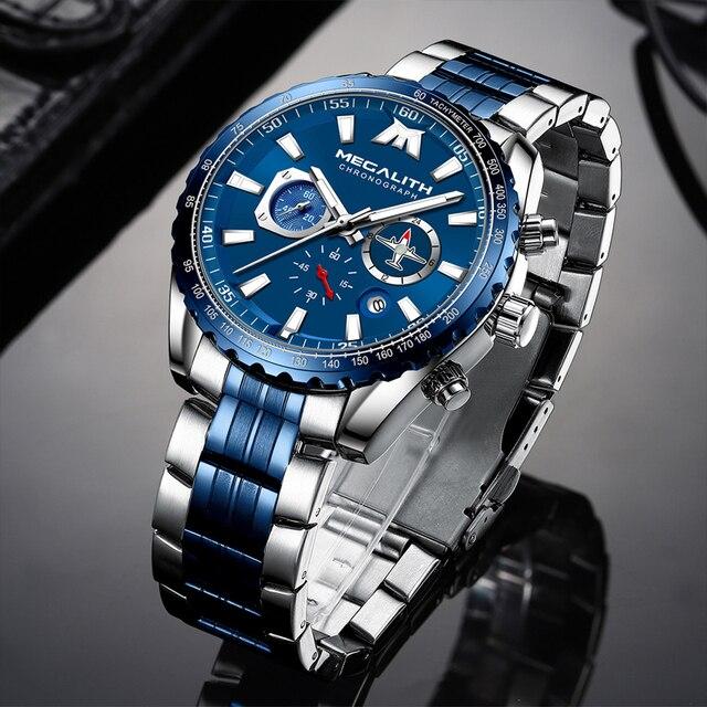 Relógio Do Esporte Dos Homens Relogio masculino 2020 MEGALITH Aeronaves Ponteiro Calendário Data Mens Relógios De Luxo À Prova D Água Relógio de Quartzo Gents