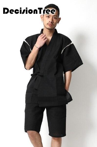 2019 Japanese Kimono Yukata Kimino Haori Cardigan Men Kimino Robe For Men Black Print Japanese Tops Haori Japan Clothing