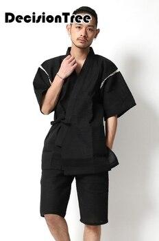 2020 Japanischen Kimono Yukata Kimino Haori Strickjacke Männer Kimino Robe Für Männer Schwarz Druck Japanischen Tops Haori Japan Kleidung