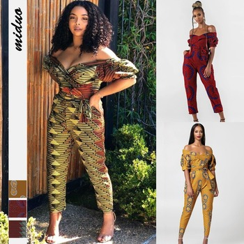Female Africa Clothes Summer African Playsuit Women Off Shoulder Short Sleeves Romper Pencil Trouser Africa Wax Clothiong Woman white off shoulder high waisted lantern sleeves playsuit