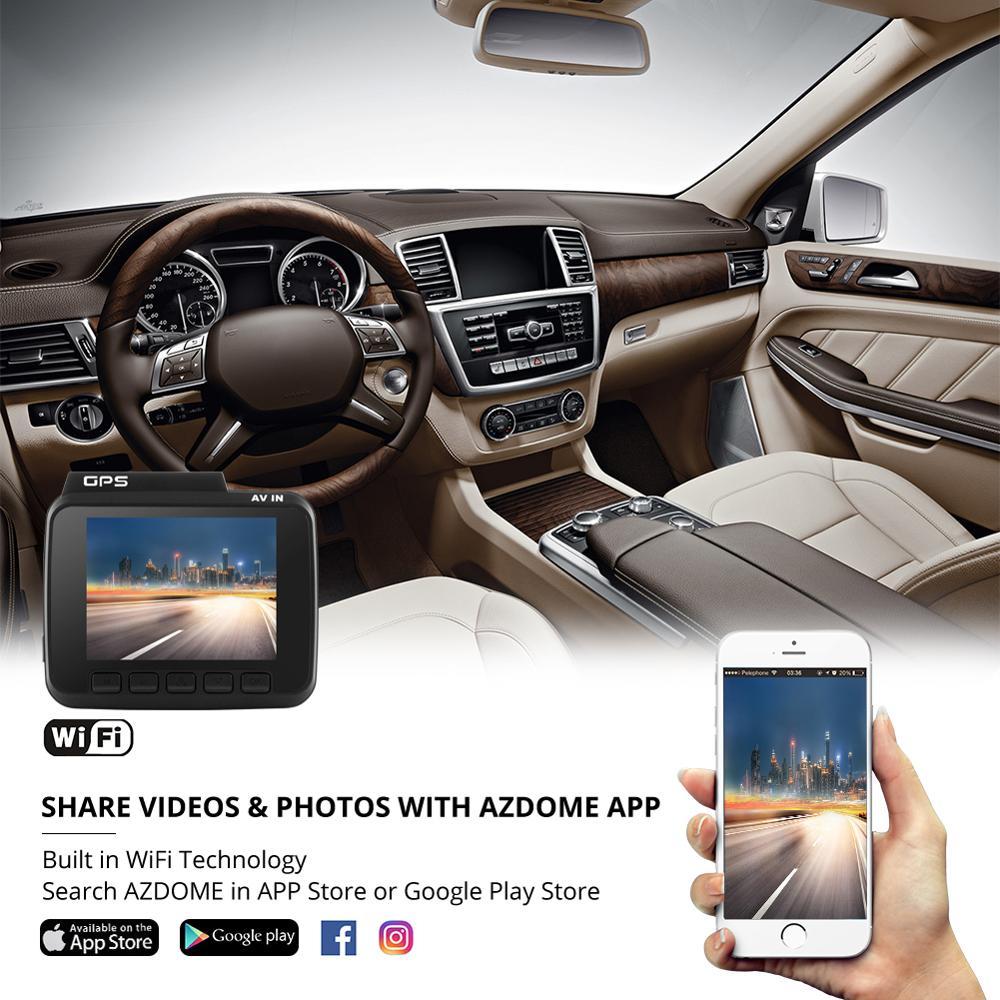 AZDOME 4K Ultra-HD DVR GS63H Встроенный GPS 2,4 дюйма ЖК-экран видеорегистратор с координатами скорости WiFi регистратор с двумя объективами Автомобильная к...