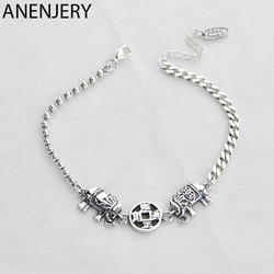 ANENJERY New Style Elephant Ancient Coins Bracelet Bangles For Women Men Couple Handmade Thai Silver Color Jewelry S-B415
