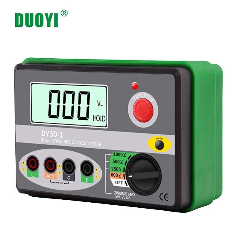 DUOYI DY30-1 Digital Insulation Resistance Tester Meter 2000M 0hm 250V 500V 1000V Megohmmeter Voltmeter Car Circuit Test Repair