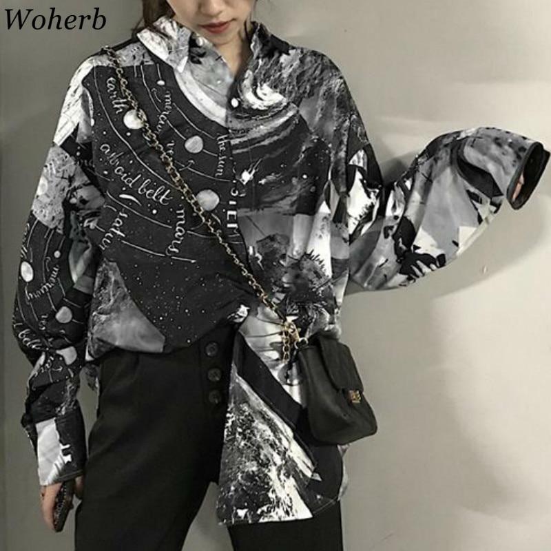 Woherb Korean Vintage Long Sleeve Single Breasted Blouse Printed Casual Loose Tops Women BF Streetwear Shirts Fashion New 91713