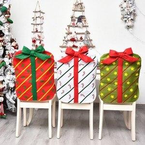 2020 НОВАЯ РОЖДЕСТВЕНСКАЯ Подарочная сумка, чехол для стула для ресторана, дома, мультяшный стул, задняя крышка, Белый Рождественский Декор, п...