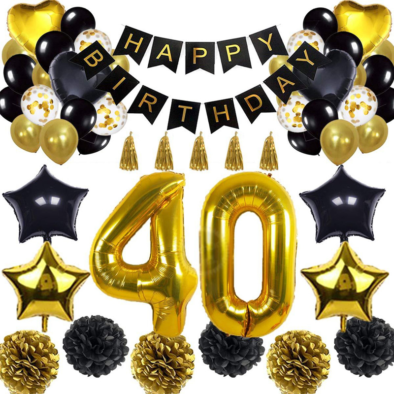 Happy Birthday Party Decoration Banner Black Golden Balloon Celebration Suit For Adult Big Size 30/40/50/70 Foil Helium Ballons