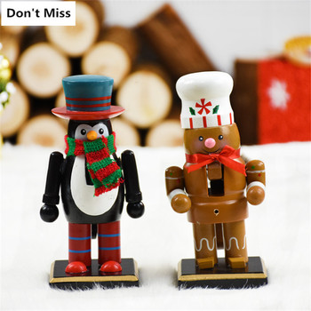 Christmas Decortion Nutcracker Puppet Wooden Figures Christmas Craft Wooden Doll Toy New Year Gift Figurines Cascanueces Navidad image