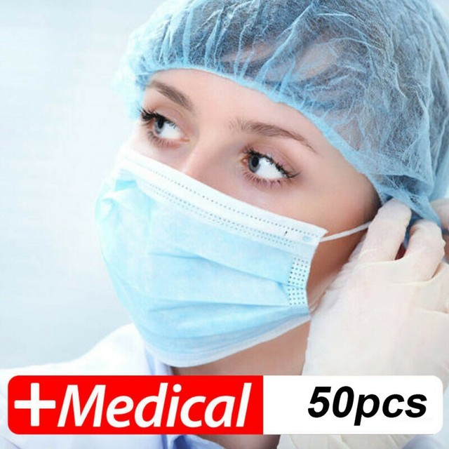 50PCS/Pack Three-Layers Anti Dust Disposable Face Masks Salon Flu Mask
