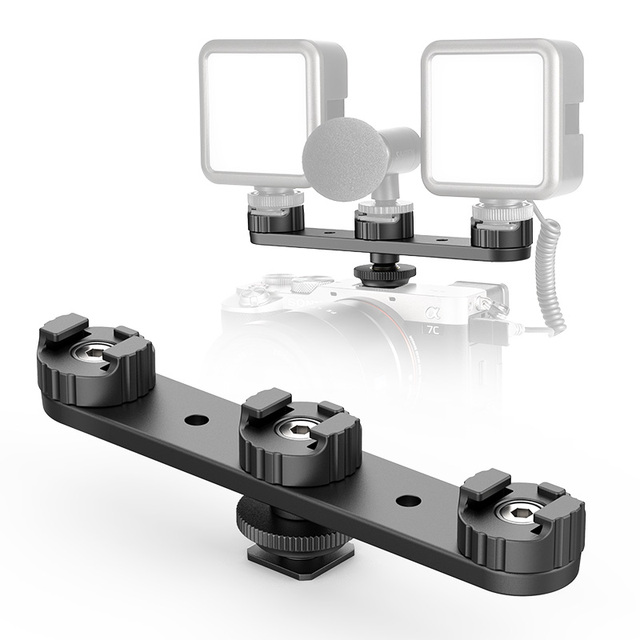 Ulanzi pt-23 extended bracket triple cold shoe mount holder dslr slr camera monitor mount smartphone vlog video light bracket