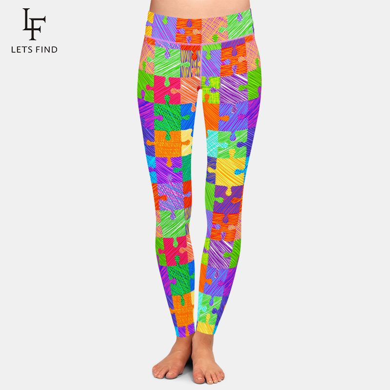 LETSFIND New Arrival Women Jigsaw Printing High Waist Workout Leggings Fashion Plus Size Slim Fitness Leggings