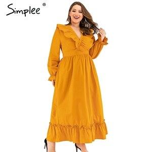 Image 4 - Simplee vestido navideño de talla grande elegante, vestido largo liso de algodón con volantes para mujer, vestido elegante para vacaciones de otoño e invierno