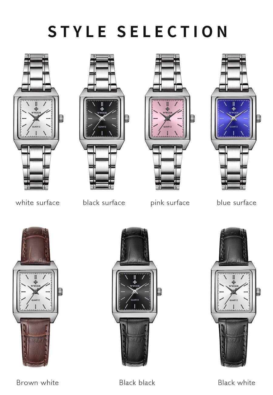 2020 yeni WWOOR kadınlar İzle lüks basit spor saatler kadın deri çelik moda Quarzt bayanlar elbise kol saati montre homme