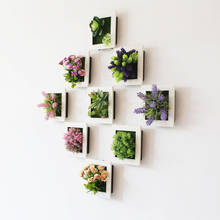 Marco de foto de planta de simulación, colgante de pared, simulación de d㎡, suculenta, planta de pared, flores artificiales de decoración