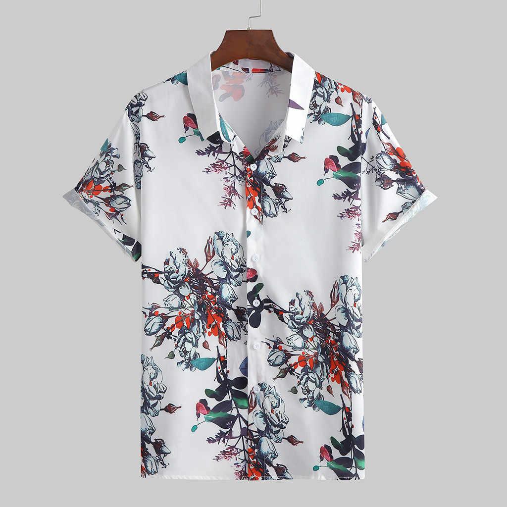 남자 여름 캐주얼 옷깃 인쇄 반팔 셔츠 탑 블라우스 셔츠 한국 легкое белое платье camisas sociais masculinas